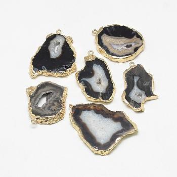 Естественно druzy агат подвески, с железной фурнитурой золотого цвета, окрашенные, самородки, кокосового коричневый, 20~60x13~50x4~8 мм, отверстие : 1~4 мм