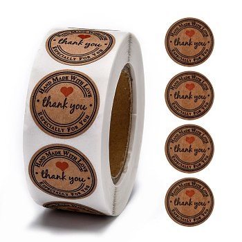 DIY Scrapbook, Decorative Adhesive Tapes, Flat Round with Word Thank You, BurlyWood, 25mm, about 500pcs/roll