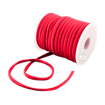 Soft Nylon Cord, Flat, Red, 5x3mm, about 20m/roll