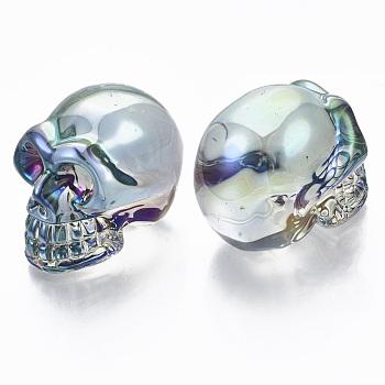 Гальваника k9 стеклянный дисплей украшения, череп, для Хэллоуина, голубой, 42x37x50 мм