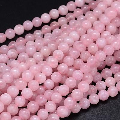 6mm Round Natural Pink AB Grade Madagascar Rose Quartz Beads 15 Inch Strand