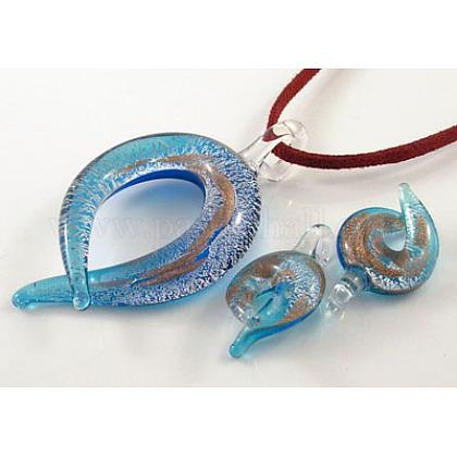 Conjunto de colgantes de vidrio plateado / oro arenaX-SLSP122Y-3-1