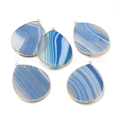 Colgantes de ágata azul natural con bandasX-G-E526-01R-1