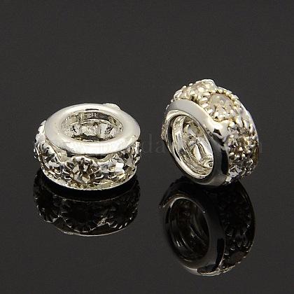 Silver Tone Alloy Grade A Rhinestone BeadsCPDL-J023-01S-1