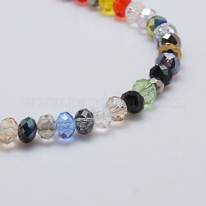 Mixed Faceted Rondelle Electroplate Glass Bead StrandsX-EGLA-J047-8x6mm-46-1