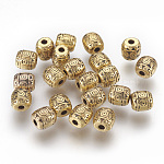 Tibetan Style Alloy Beads, Antique Golden Color, Lead Free & Nickel Free & Cadmium Free, Barrel, Size: about 6mm in diameter, 6mm long, hole: 1.6mm