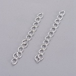 Iron Ends with Twist Chain Extension for Necklace Anklet Bracelet, Silver, 50x3.5mm, Links: 5.5x3.5x0.5mm