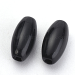 Opaque Acrylic Beads, Rice, Black, 6x3mm, Hole: 1mm; about 660pcs/20g