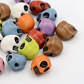 Opaque Acrylic Beads, For Halloween, Skull, Mixed Color, 12.5x9.5x11mm, Hole: 1.5mm