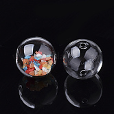 Handmade Blown Glass Globe Beads, Round, Clear, 12~12.5x11~11.5mm, Hole: 1.5~2.5mm