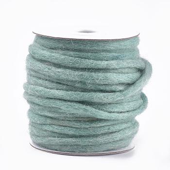 100% hilo de lana hecho a mano, hilo grueso, cadete azul, 3~6 mm; aproximamente 20 m / rollo