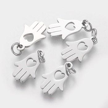 304 Stainless Steel Pendants, Hamsa Hand/Hand of Fatima/Hand of Miriam with Heart, Stainless Steel Color, 15x9.5x1mm, Hole: 4mm