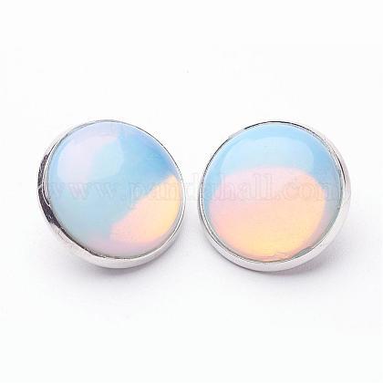 Opalite Brass Clip-on EarringsEJEW-A051-A015-1