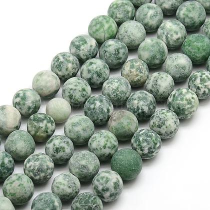 Tache verte naturelle givrée jasper brins de perles rondesG-M064-14mm-10-1