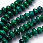 Perles de turquoise jaune naturel, imitation chrysocolle, teinte, rondelle, 12x8mm, trou: 1mm; environ 48 pcs/chapelet, 15