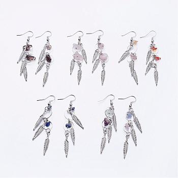 Tibetan Style Alloy Dangle Earrings, with Gemstone, Brass Linking Rings and Earring Hooks, Leaf, 76mm; Pin: 0.7mm