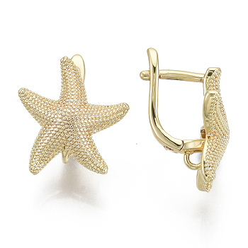 Brass Hoop Earring Findings, with Loop, Nickel Free, Starfish Shape, Real 18K Gold Plated, 18x17mm, Hole: 1.6mm, Pin: 11.5x1mm