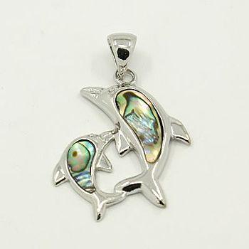 Concha de abulón / colgantes de concha paua, con fornituras de latón, delfín, color del metal platino, colorido, 37x28x3mm, agujero: 5x8 mm