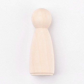 Unfinished Wood Female Peg Dolls People Bodies, for Kids Painting, DIY Crafts, Solid, Hard, AntiqueWhite, 66.5x24.5mm