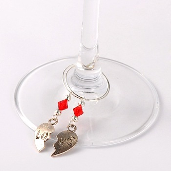 Red Tibetan Style Heart with Love Wine Glass Charms, with Glass Beads, Iron Beads and Brass Hoop Earrings, For Valentine's Day, Antique Silver, Red, 63mm; Pin: 0.7mm