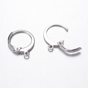 304 Stainless Steel Leverback Earring Findings, with Loop, Stainless Steel Color, 14.5x12x2mm, Hole: 1mm; Pin: 0.7mm