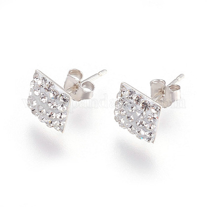 Valentines Days Gifts for Men Austrian Crystal Ear Studs EJEW-H042-001-1