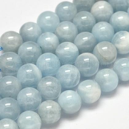 Round Grade AB Natural Aquamarine Beads StrandsG-F289-01-8mm-1