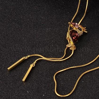 Toucan Long Adjustable Alloy Rhinestone Lariat NecklacesNJEW-F193-I02-G-1