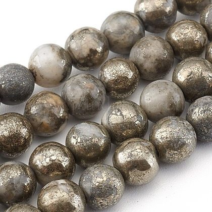 Natural Pyrite Beads Strands G-G839-01-6mm-1
