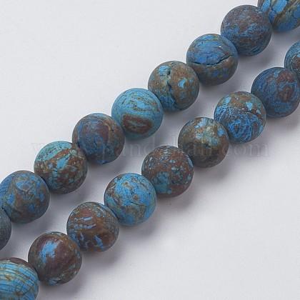 Crisocola naturales hebras de perlas rerondaG-G969-8mm-1
