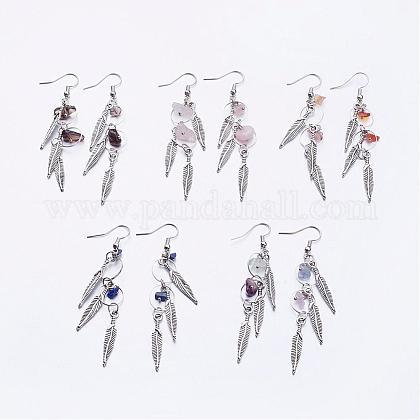 Tibetan Style Alloy Dangle EarringsEJEW-JE02207-1