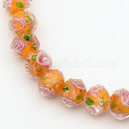 Handmade Gold Sand Lampwork Rondelle Beads StrandsLAMP-L003-A-02-1