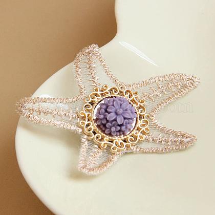Starfish/Sea Stars Lace BroochesX-JEWB-N0001-038-1