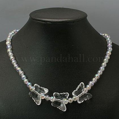 Preciosos collares de acrílico transparente para regalo del día de los niños.NJEW-JN00269-03-1