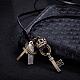 Adjustable Men's Zinc Alloy Pendant and Leather Cord Lariat NecklacesNJEW-BB15995-B-2