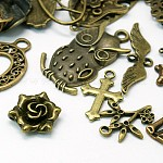 Mixed Tibetan Style Alloy Pendants, Mixed Shapes, Antique Bronze, 10~60x5~60mm, Hole: 1~9mm
