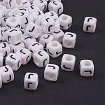 6MM Letter J White Letter Acrylic Cube Beads, Size: about 6mm wide, 6mm long, 6mm high, hole: 3.2mm, about 300pcs/50g