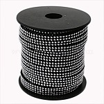 2 Row Platinum Aluminum Studded Faux Suede Cord, Faux Suede Lace, Black, 5x2mm; about 20yards/roll