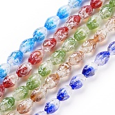 Handmade Gold Sand Lampwork Beads Strands, Drum, Mixed Color, 15~16x10~11mm, Hole: 1.2mm; about 25pcs/strand, 15.1inches(38.5cm)