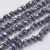Hebras de perlas de agua dulce cultivadas naturales, pepitas, negro, 5~7x4~5x3~4mm, agujero: 0.3 mm; aproximamente 76~80 unidades / cadena, 14''