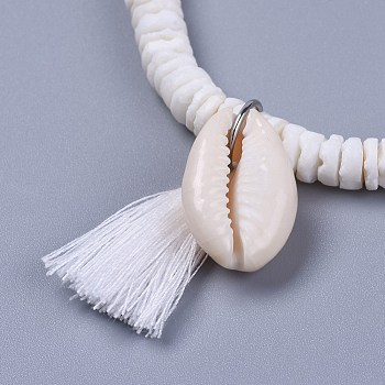 White Cotton Thread Tassels Charm Bracelets, with Shell Beads and Cowrie Shell Beads, with Burlap Paking Pouches Drawstring Bags, White, 2 inches(5~5.1cm)