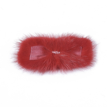 Red Faux Mink Fur Rectangle Decoration, Pom Pom Ball, for DIY Bowknot Hair Accessories Craft, Red, 8~8.5x3.7~4cm; about 21pcs/board