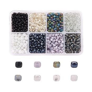 1 caja 6/0 perlas de vidrio semillas redondas perlas separadoras sueltas, color mezclado, 4mm, agujero: 1 mm, aproximamente 1900 unidades / caja