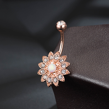 Rose Gold Brass Piercing Jewelry, Belly Rings, with Glass Rhinestone, Mixed Shapes, Rose Gold, 21~31mm; Pin: 10~14x1.5mm