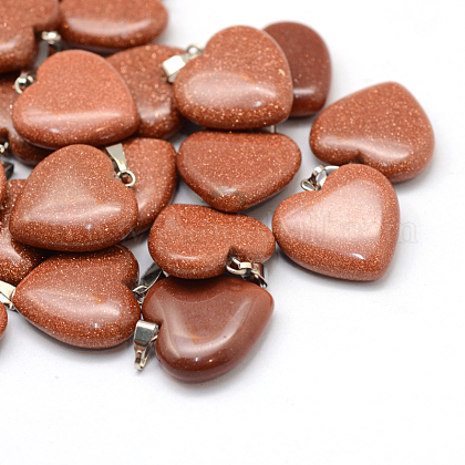 Coeur pendentifs goldstone synthétiqueX-G-Q438-13-1