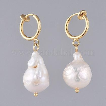 Natural Baroque Pearl Keshi Pearl Clip-on Hoop EarringsEJEW-JE03829-01-1
