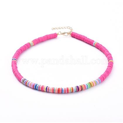 Collares hechos a mano de arcilla polimérica con cuentas de gargantilla heishiNJEW-JN02722-04-1