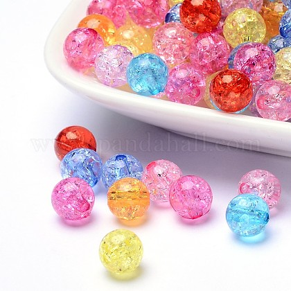 Transparent Crackle Acrylic Beads CACR-R008-8mm-M-1