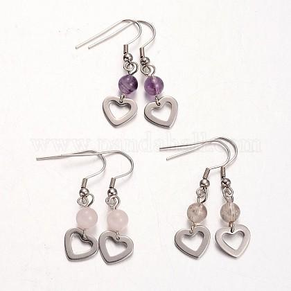 Heart Natural Gemstone Dangle EarringsEJEW-JE01884-1