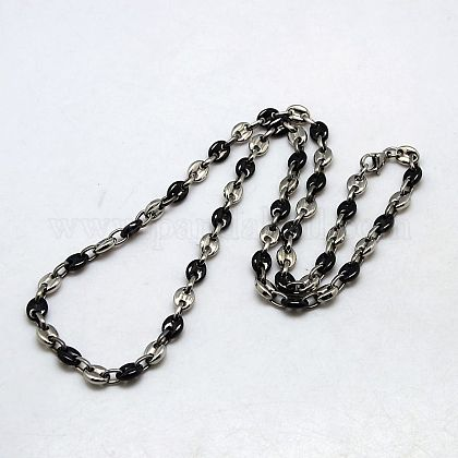 Fashionable 304 Stainless Steel Coffee Bean Chain Necklaces NJEW-I008-34C-1